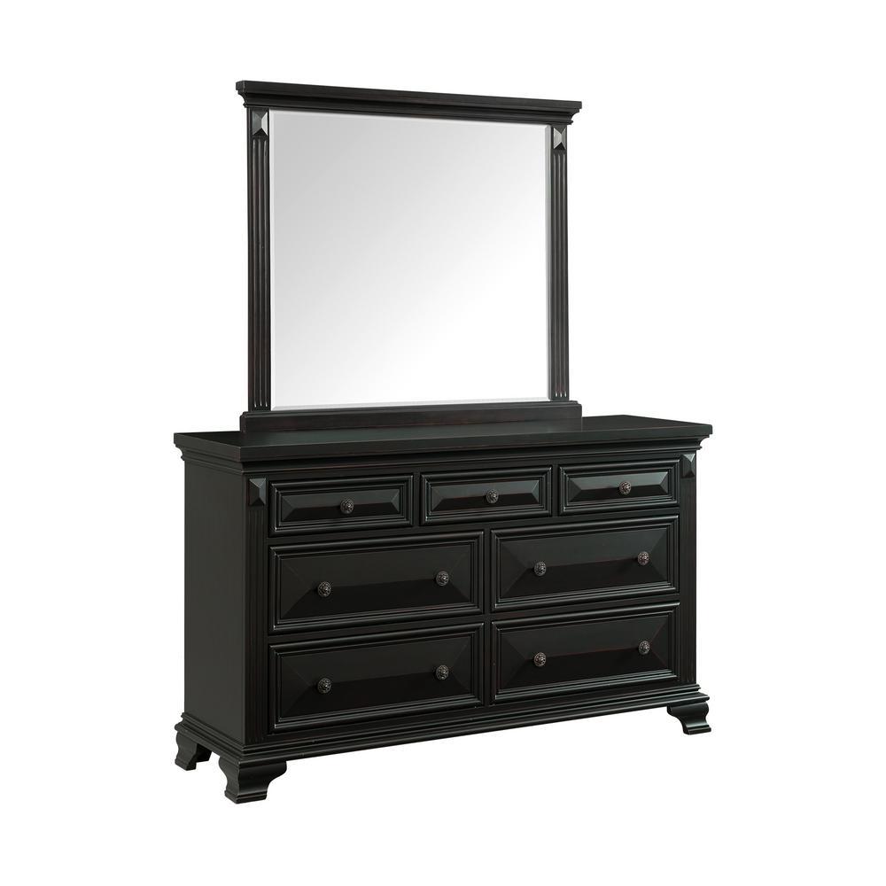 Trent 7-Drawer Antique Black Dresser with Mirror