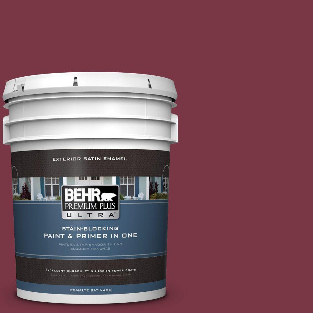 BEHR Premium Plus Ultra 5-gal. #S-H-110 Wine Tasting Satin Enamel Exterior Paint, Reds/Pinks