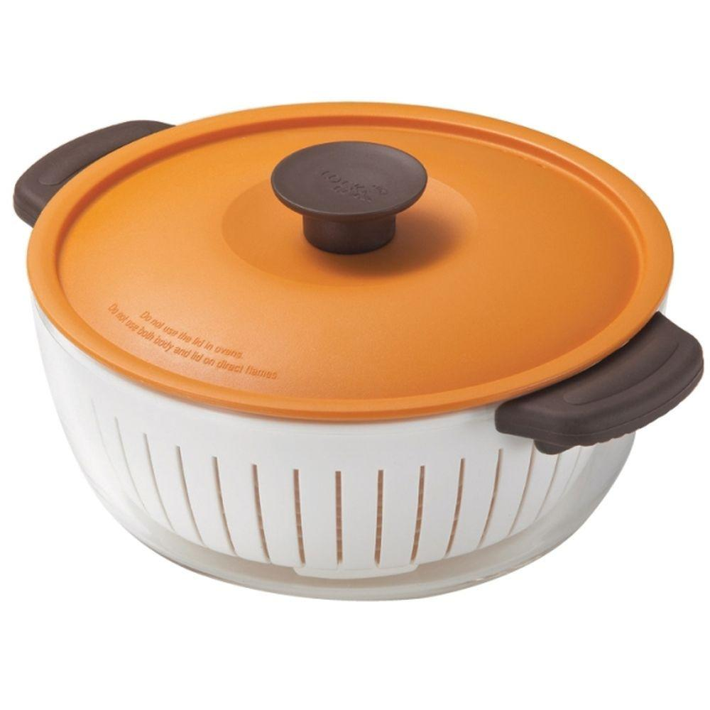 Lock and Lock 7.8 in. Glass Pot in Orange-DISCONTINUED