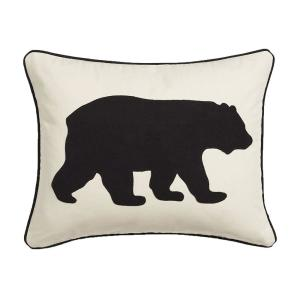 Black Bear Animal Print Cotton 16 in. x 20 in. Throw Pillow
