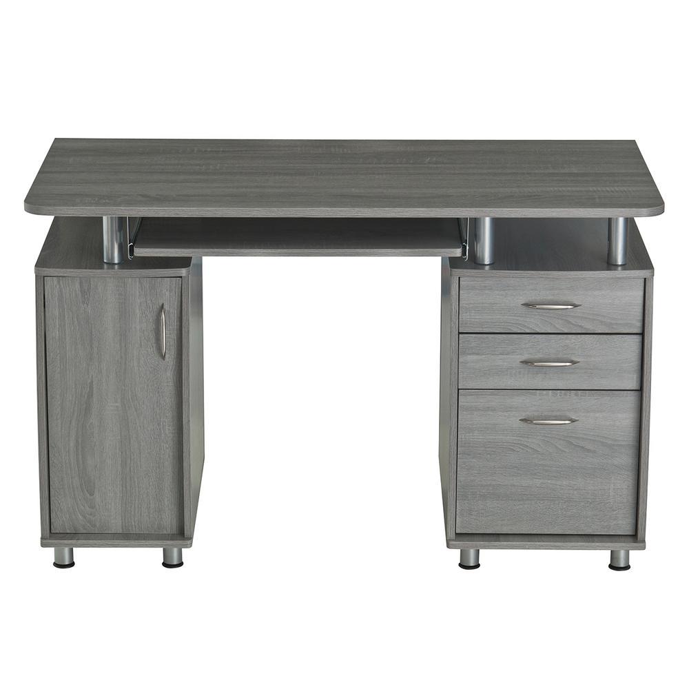 Grey Complete Workstation Computer Desk With Storage