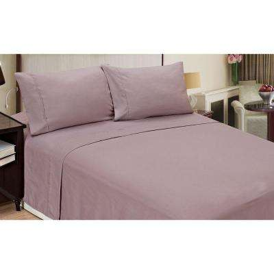 Jill Morgan Fashion Solid Lilac Microfiber 4-Piece Queen Sheet Set