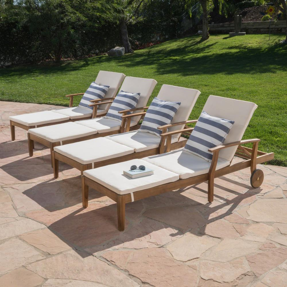 Noble House Teak Brown 4-Piece Wood Outdoor Chaise Lounge ...