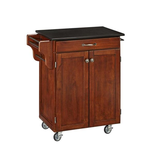 Cuisine Cart Cherry Kitchen Cart with Black Granite Top