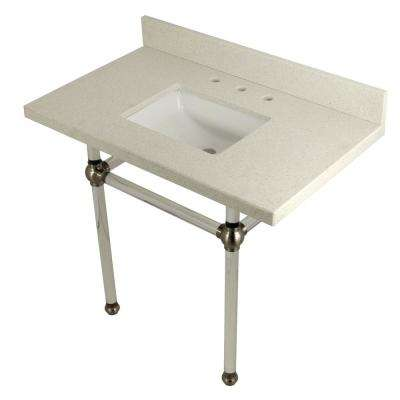 Square-Sink Washstand 36 in. Console Table in White Quartz with Acrylic Legs in Satin Nickel
