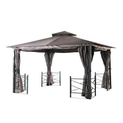 Sunward 10 ft. x 12 ft. Light Brown Steel Soft Top Gazebo