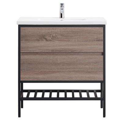 Memphis 32 in. W x 18 in. D Vanity in Taupe with Integrated Vanity Top in White with White Basin