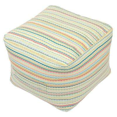 Rigby Stripe Square Outdoor Pouf Cushion with Handle