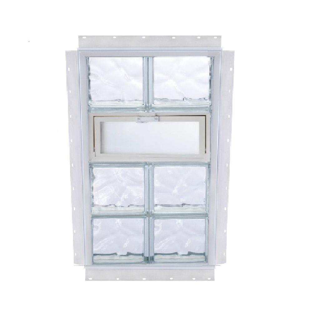 TAFCO WINDOWS NailUp 32 in. x 80 in. x 3-3/4 in. Vented Wave Pattern Glass Block New Construction Window with Vinyl Frame-DISCONTINUED