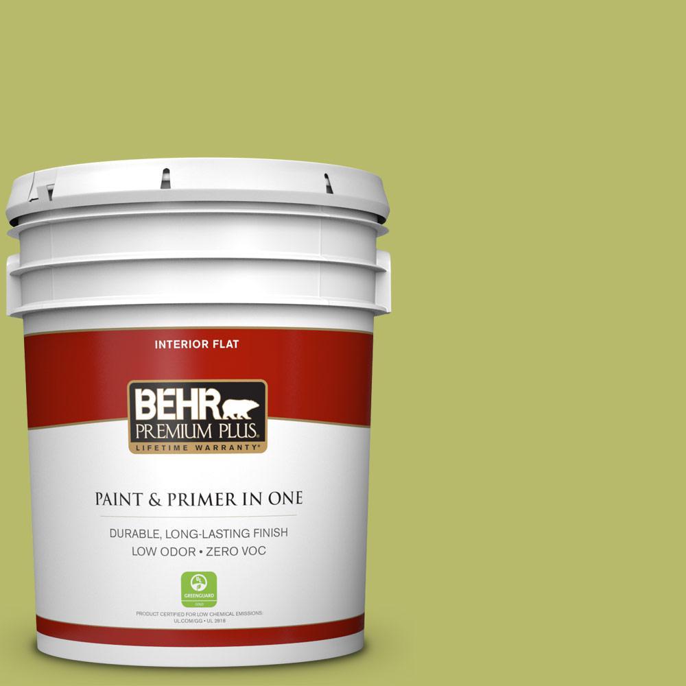BEHR Premium Plus 5-gal. #P360-5 Citrus Peel Flat Interior Paint