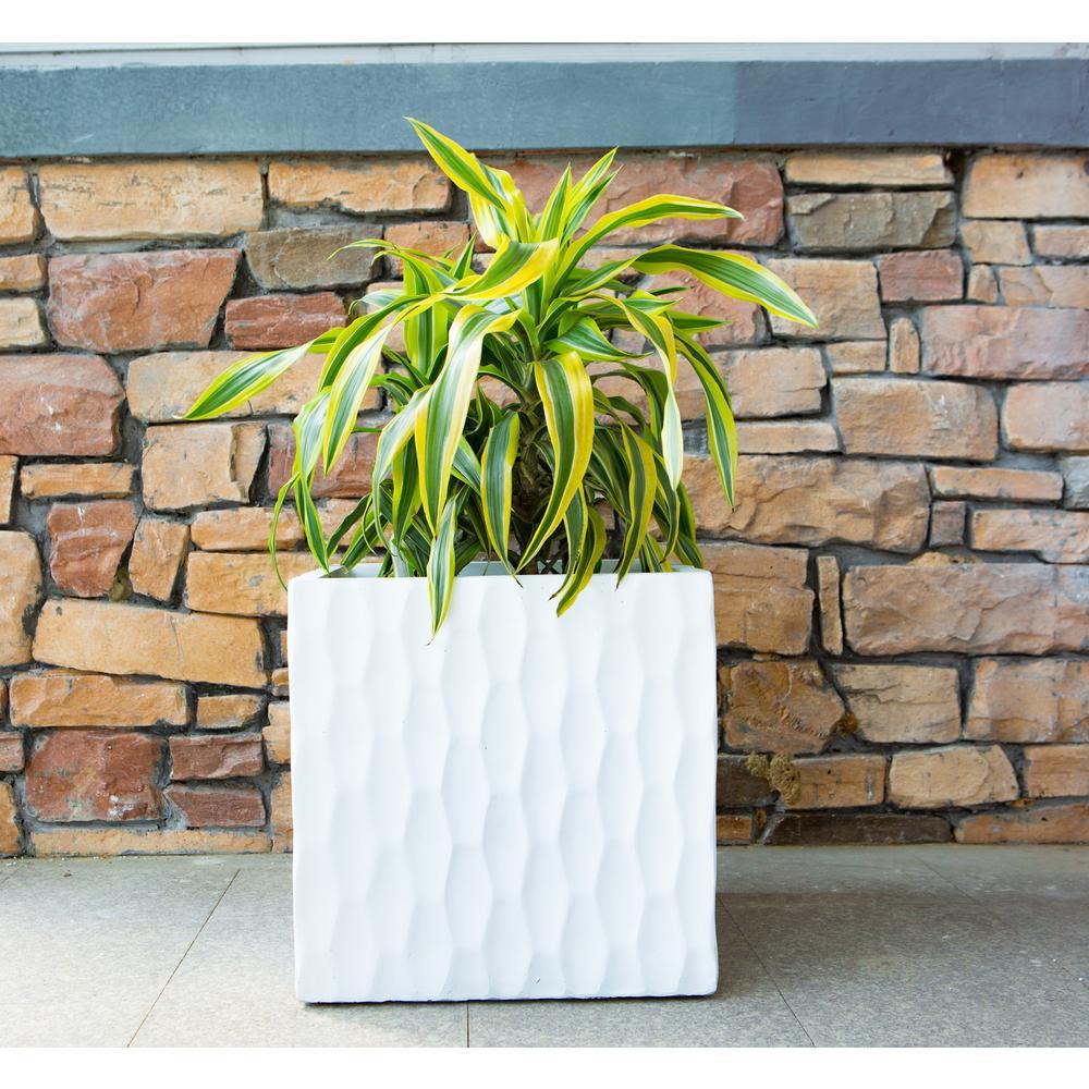 Large 16 in. x 16 in. x 16 in. White Lightweight Concrete Retro Square Planter
