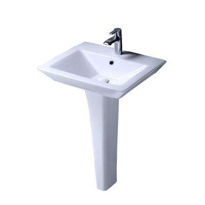 Aristocrat Pedestal Lavatory Combo Bathroom Sink in White