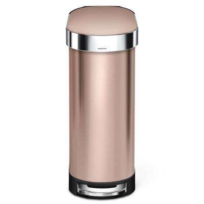 12 Gal. Slim Step Trash Can in Rose Gold Stainless Steel