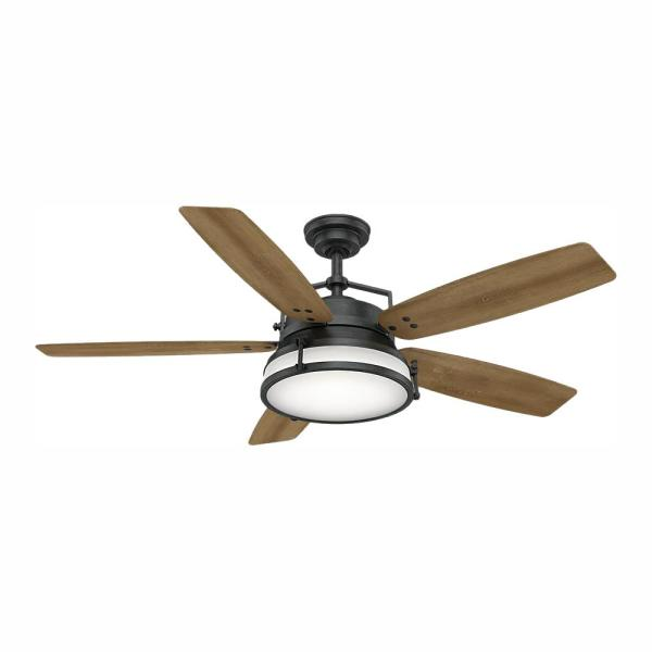 Caneel Bay 56 in. LED Indoor/Outdoor Aged Steel Ceiling Fan with Light Kit