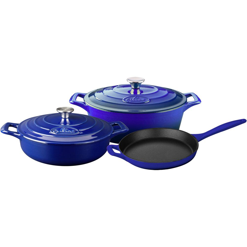La Cuisine 5-Piece Enameled Cast Iron Cookware Set with Saute, Skillet and Oval Casserole in High Gloss Sapphire