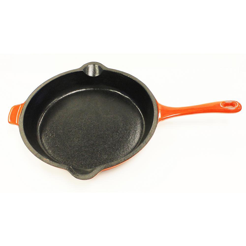 Neo 10 in. Cast Iron Round Orange Fry Pan