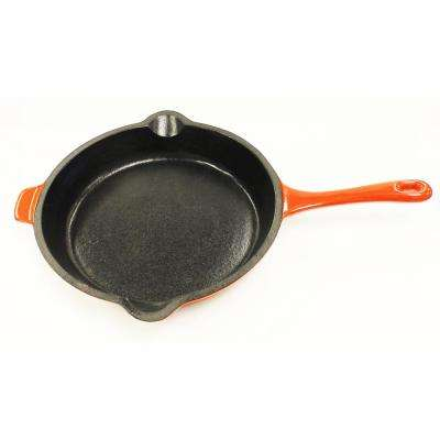 Neo 10 in. Cast Iron Round Orange Fry Pan