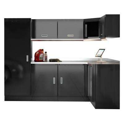 Select Series 75 in. H x 120 in. W x 22 in. D Aluminum Cabinet Set in Black with Stainless Steel Worktop (9-Piece)