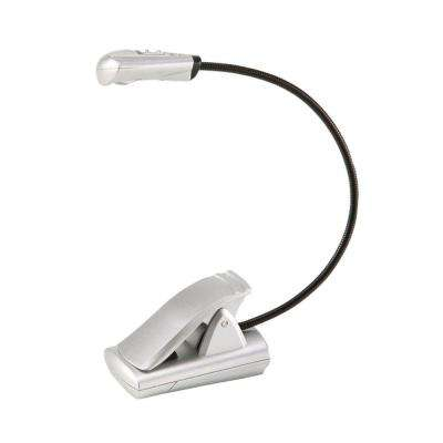 6 in. Silver Flexible Neck LED Clip-On Battery Operated Multiplex Task Light