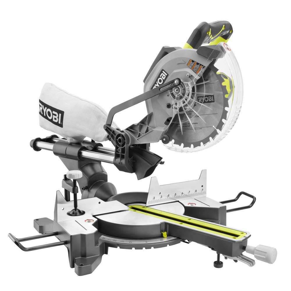 ryobi 15 amp 10 in sliding miter saw with laser tss102l the home