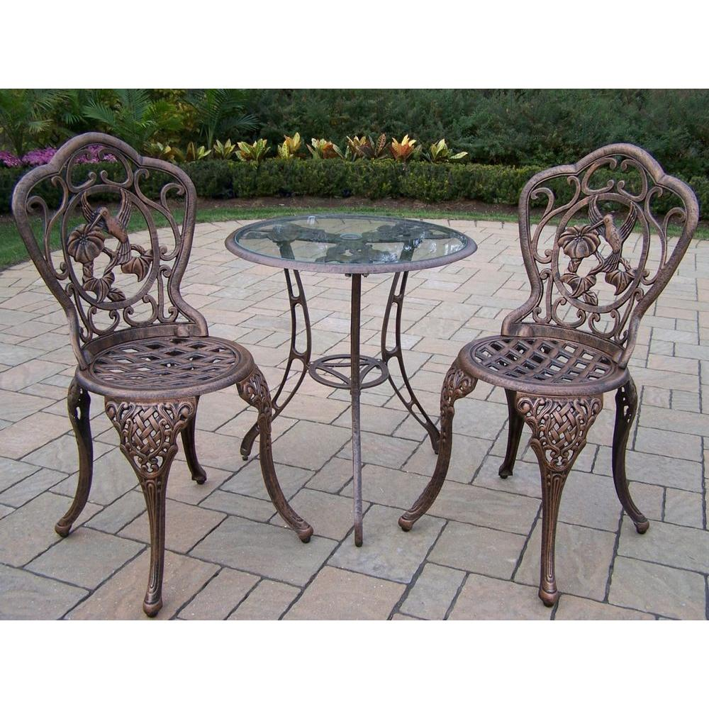 3 piece patio set oakland living hummingbird 3 bistro set 3205 ab 10318