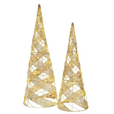 62 in. and 50 in. H Mesh Fabric Spiral Trees with LED Lights (Set of 2)