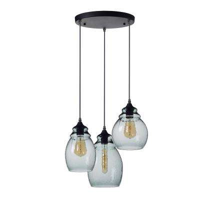 10, 11 and 12 in. H 3-Light Black Hammered Glass Chandelier with Blue Glass Shades