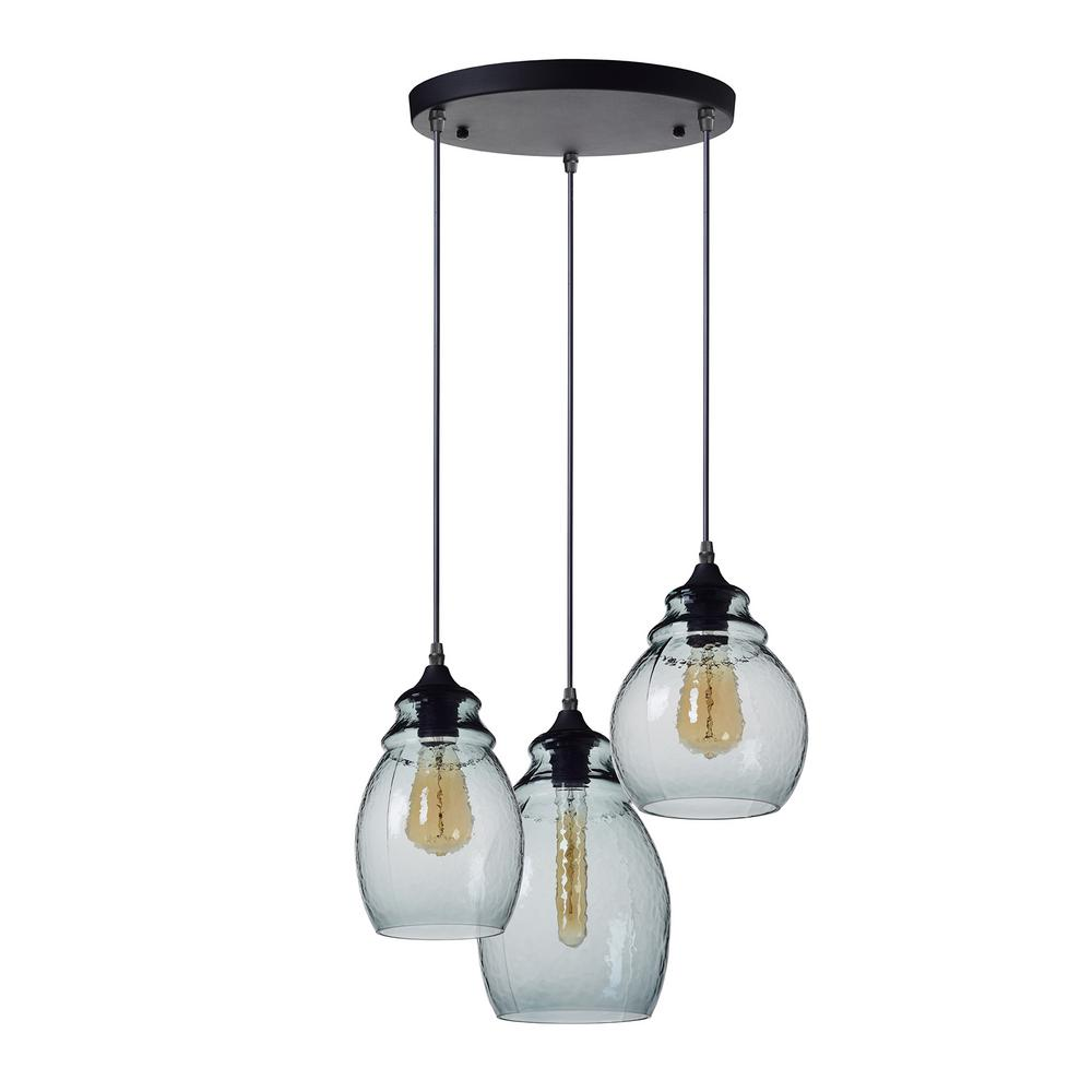 Casamotion 10 11 And 12 In H 3 Light Black Hammered Gl Chandelier With Blue Shades