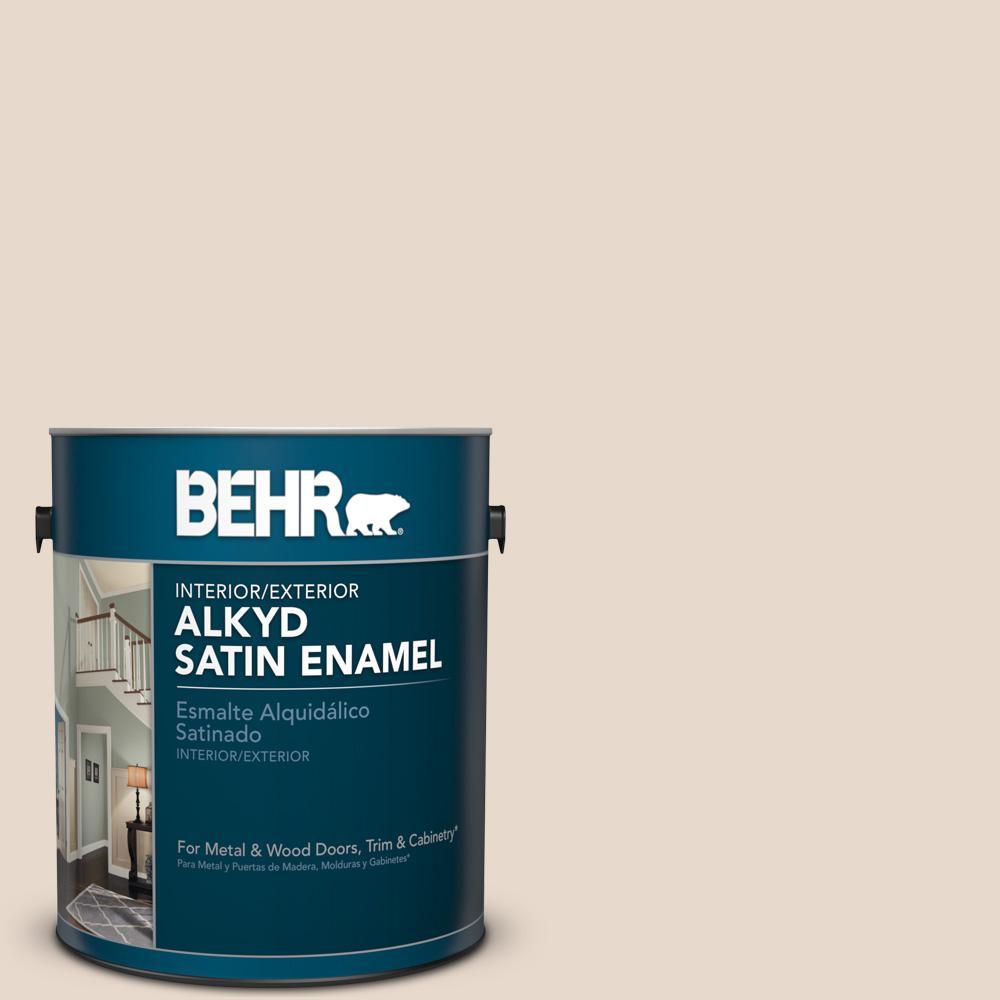 1 gal. #N240-1 Cascade Beige Satin Enamel Alkyd Interior/Exterior Paint