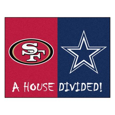 NFL House Divided - 49ers / Cowboys 33.75 in. x 42.5 in. House Divided Mat Area Rug
