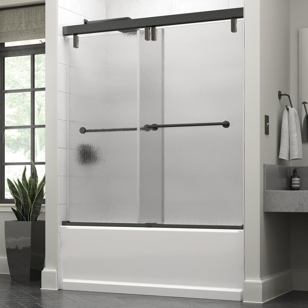 Delta Mandara 60 x 59-1/4 in. Frameless Mod Soft-Close Sliding Bathtub Door in Bronze with 3/8 in. (10mm) Rain Glass