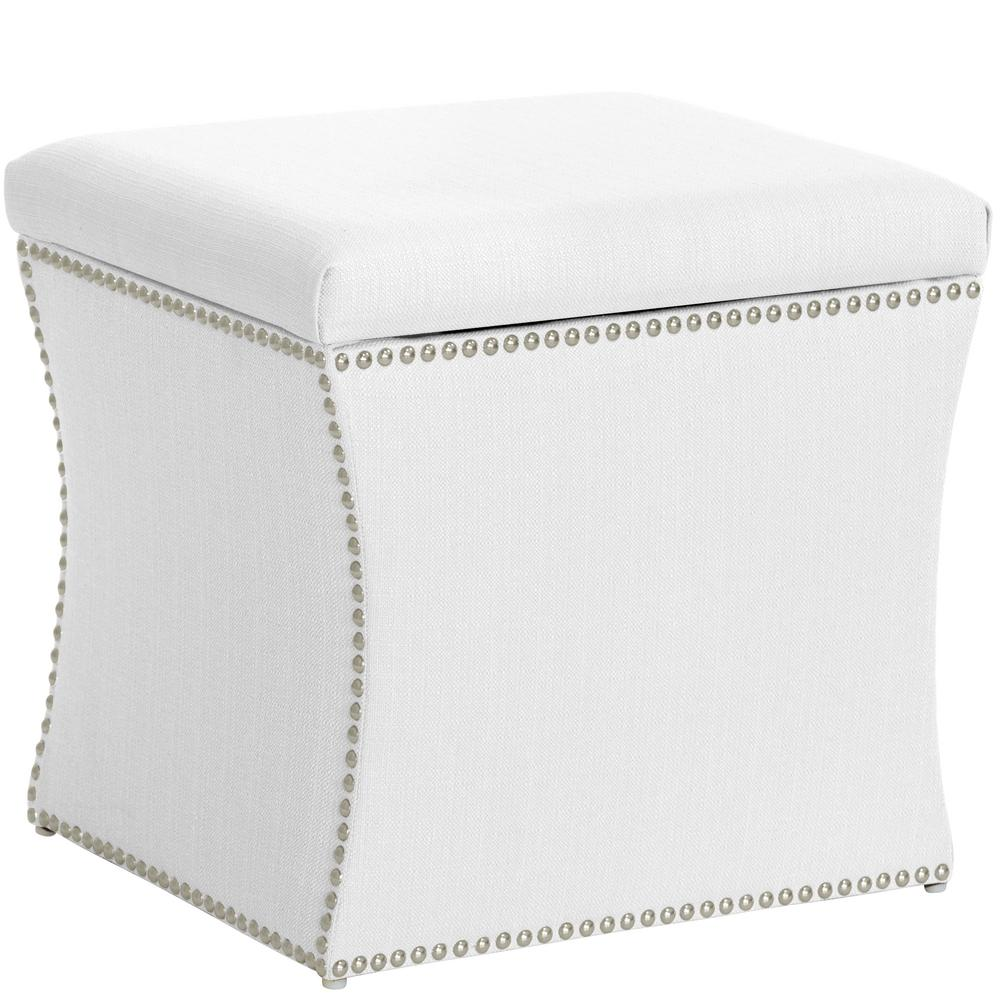 Skyline Furniture Klein White Nail On Storage Ottoman