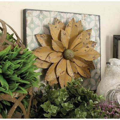 12 in. x 12 in. Assorted Farmhouse Rustic Iron Flower Wall Plaques (Set of 3)