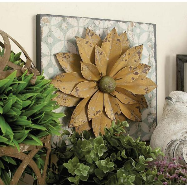Litton Lane 12 in. x 12 in. Assorted Farmhouse Rustic Iron Flower Wall Plaques (Set of 3)