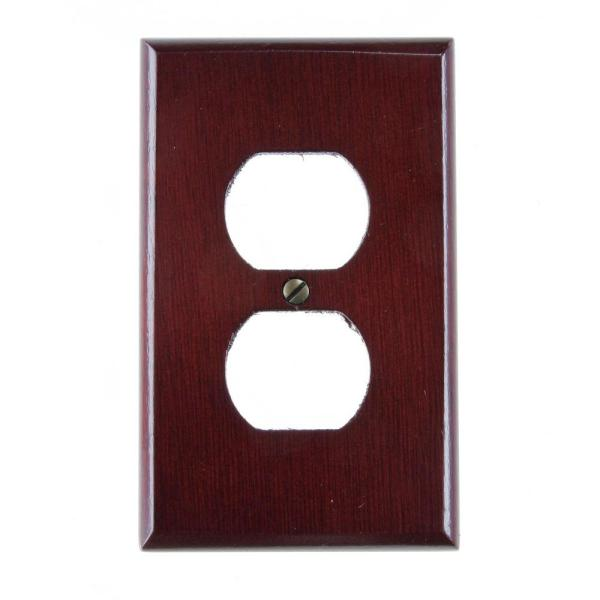 1-Duplex Wall Plate, Rosewood