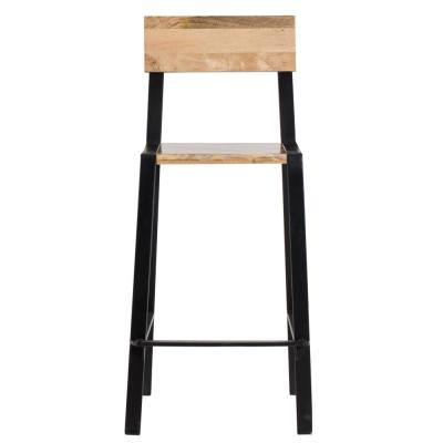 Delphine 41 in. Natural & Black Bar Stool