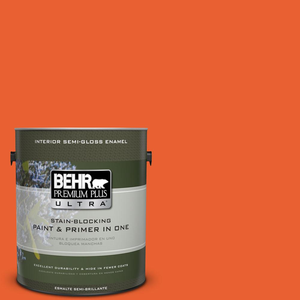 BEHR Premium Plus Ultra 1-gal. #S-G-230 Startling Orange Semi-Gloss Enamel Interior Paint