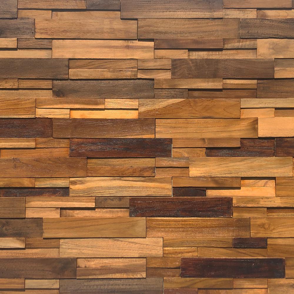 Reclaimed Wood 1/2 in. x 24 in. x 12 in. Multi Teak Wood Wall Panel (10-Box)