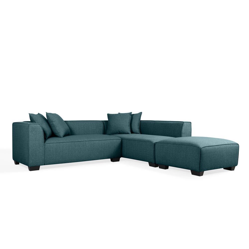 Phoenix Caribbean Blue Linen Sectional Sofa with Ottoman