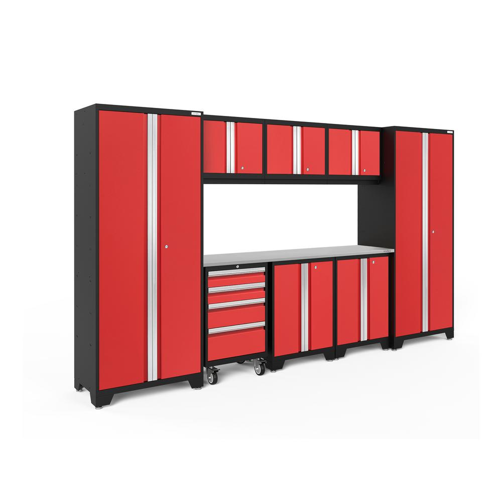 NewAge Products Bold Series 3.0 132 in. W x 77.25 in. H x 18 in. D 24-Gauge Steel Garage Cabinet Set in Red (9-Piece)