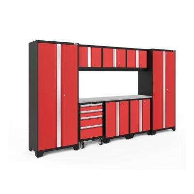Bold 3.0 77.25 in. H x 132 in. W x 18 in. D 24-Gauge Welded Steel Garage Cabinet Set in Red (9-Piece)