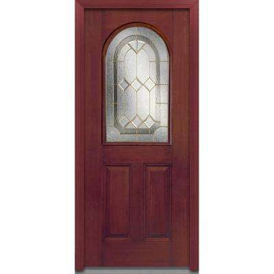 32 in. x 80 in. Majestic Elegance Right-Hand Inswing 1/2-Lite Decorative Stained Fiberglass Mahogany Prehung Front Door