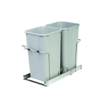 11.375 in. x 22 in. x 18.813 in. 27 Qt. In-Cabinet Double Soft-Close Bottom-Mount Pull-Out Trash Can