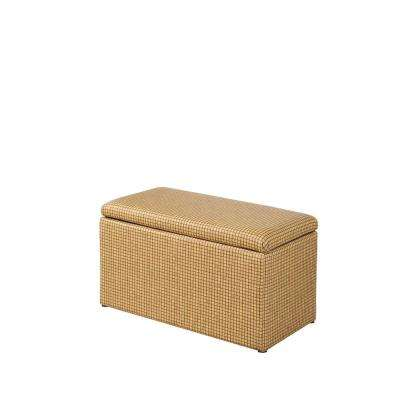 Yellow Gold Plaid Leatherette Marble Pattern Storage Ottoman