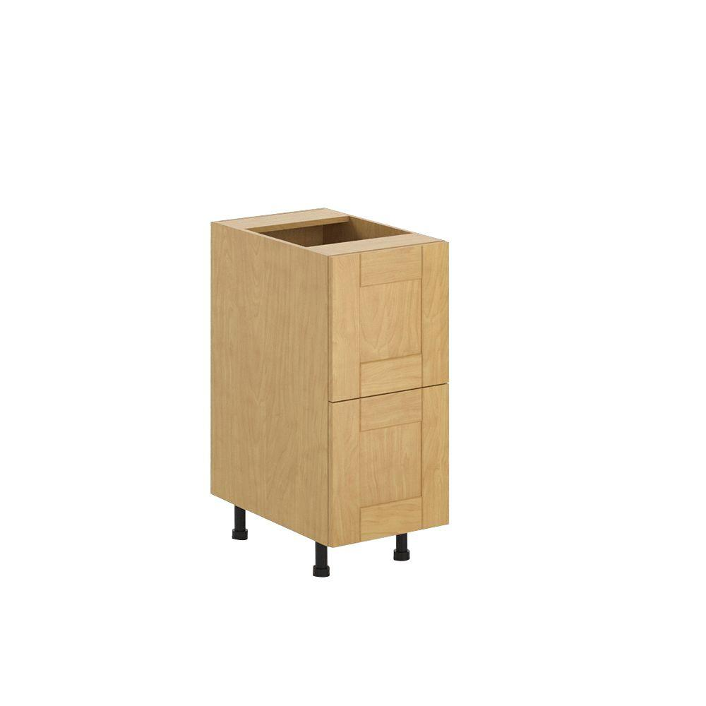 eurostyle ready to assemble in milano 2 deep drawer base cabinet in maple melamine. Black Bedroom Furniture Sets. Home Design Ideas