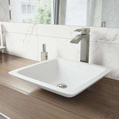 Begonia Matte Stone Vessel Sink in White with Duris Vessel Faucet in Brushed Nickel