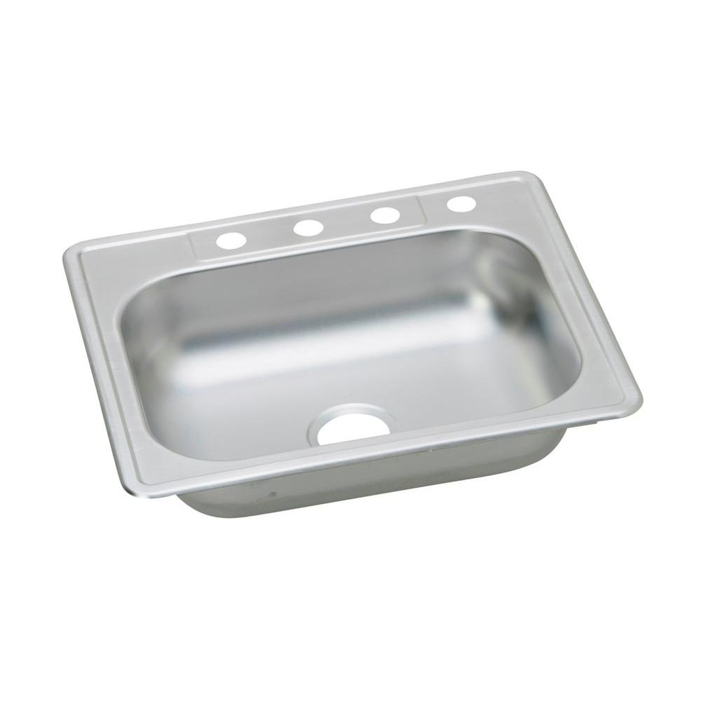 Elkay Dayton Drop-In Stainless Steel 25 in. 4-Hole Single Bowl ...