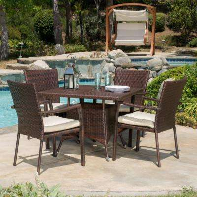 Campbell Multi-Brown 5-Piece Wicker Outdoor Dining Set
