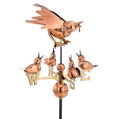 Polished Copper Mother Bird and Chicks Weathervane