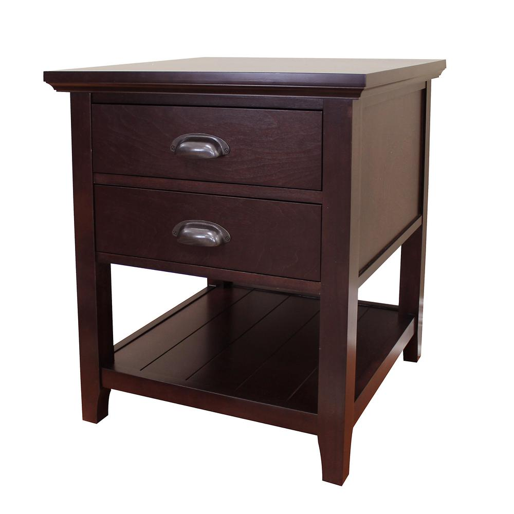 Donnieann Lindendale 2 Drawer Espresso End Table